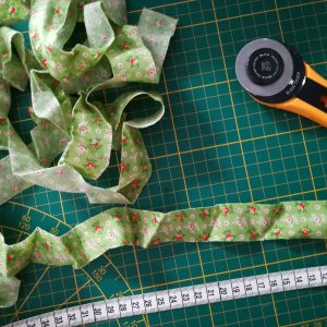 Cutting bias tape for fabric ties
